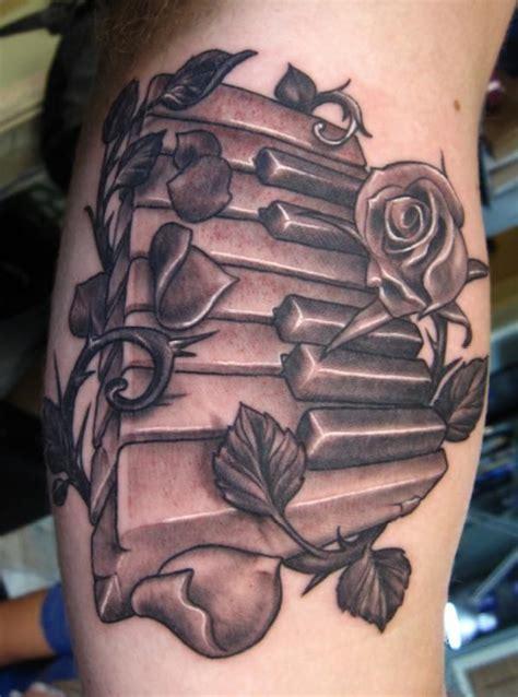 black and grey key tattoo black and grey piano keys and roses tattoo tattoos and