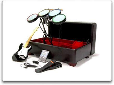 guitar storage ottoman nifty ottoman hides your rock band instruments kotaku