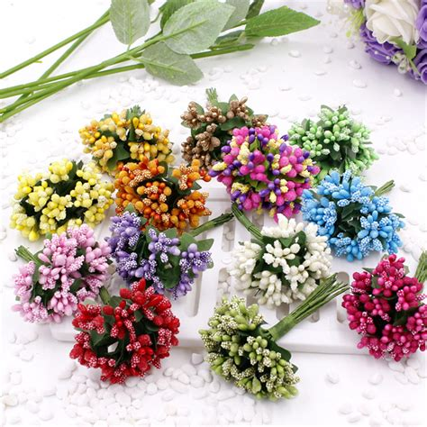 artificial flower decoration for home cheap 12pcs artificial stamen flower for wedding home