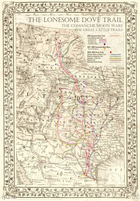lonesome dove map the lonesome dove comanche moon great trails map 20 quot x16 ebay