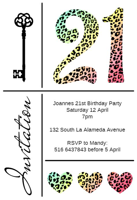 21st birthday invitation card templates free leopard 21st free birthday invitation template