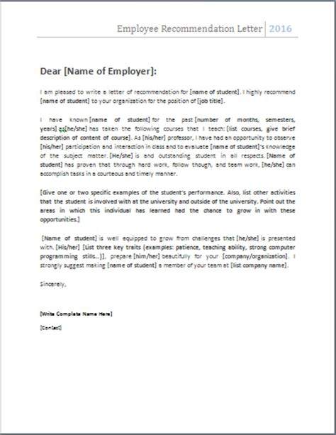 Recommendation Letter Format For Ms From Employer 4 Academic And Employee Recommendation Letters Document Hub