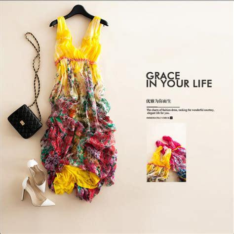 Mk Silk 3 Warna 2017 new summer dress 100 silk flowing yellow