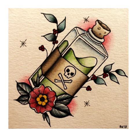 watercolor tattoo vs regular tattoo a small traditional poison bottle flash design