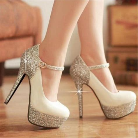 white silver high heels shoes pumps heels glitter shoes white beige high