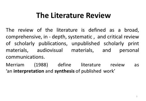 literature definition importance of literature review ppt