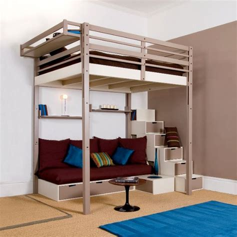 lofted queen bed queen loft beds for adults modern queen loft