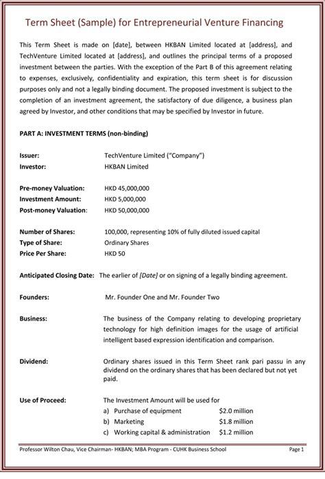 non binding term sheet template choose from 9 term sheet templates