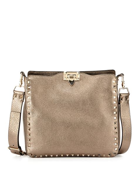 Ficcare Metallic Leather Bags by Valentino Rockstud Small Metallic Leather Hobo In Metallic