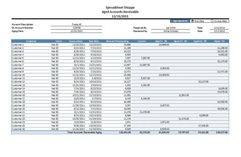 accounting schedule template accounts receivable aging excel template