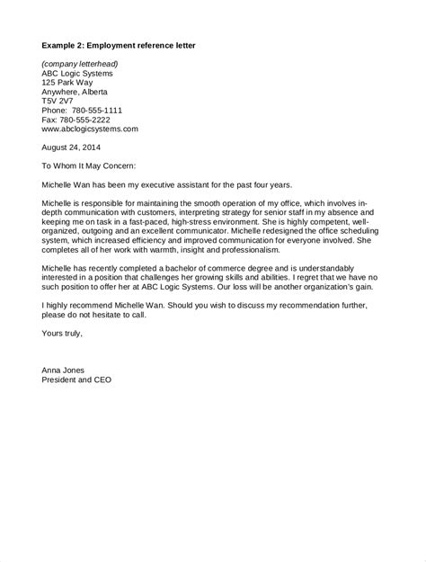 recommendation letter template for job sample reference request
