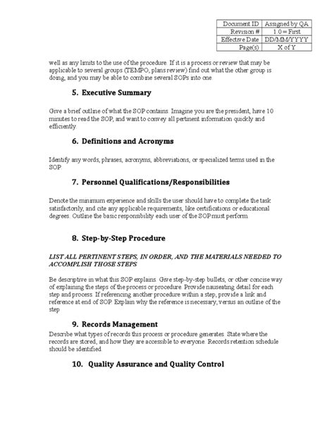 Administrative Sop Template Kentucky Free Download Administrative Standard Operating Procedure Template