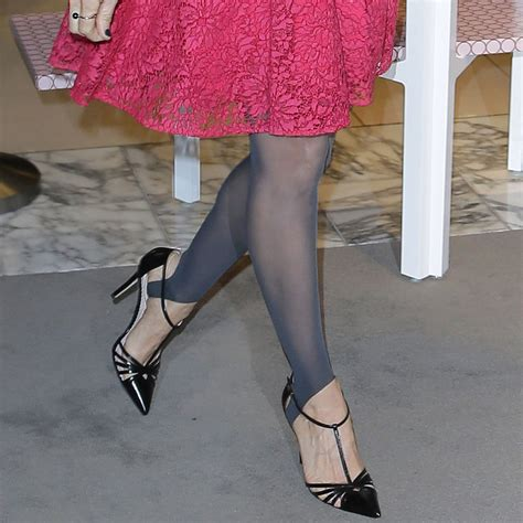 Sarah Jessica Parker Wearing Stirrup Tights and Lace Dress