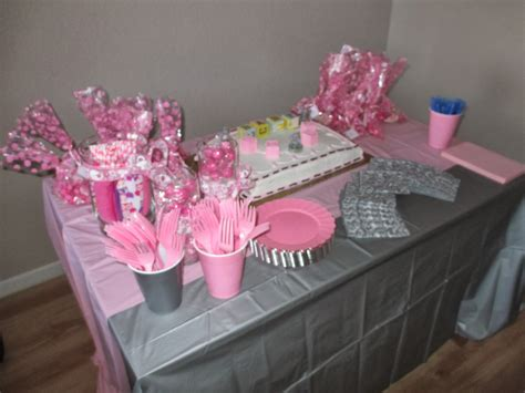 Pink And Gray Baby Shower Table Decorations by High Waisted Ambitions Pink Grey Elephant Baby Shower