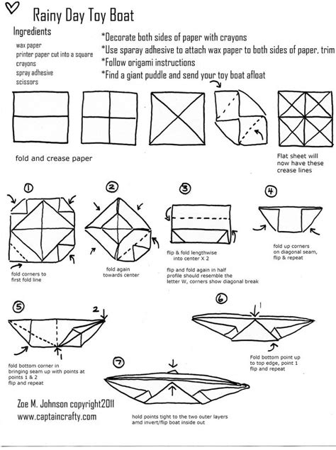 Origami Boat Printable - rainy day boat tutorial sewing