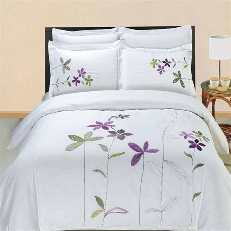 white cotton comforter cover 5pc hotel style purple white embroidered duvet cover set