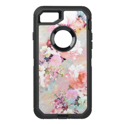 Pink Watercolor Flower Casing Iphone Oppo Samsung Custom modern pink teal watercolor chic floral pattern otterbox defender iphone 7 plus
