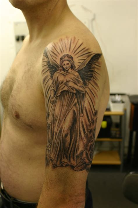 angel tattoo in arm black and grey tattos angels tattoo angel black gray arm