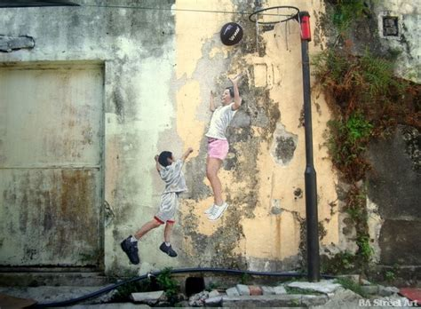 Basketball Wall Murals penang street art and murals by ernest zacharevic ba