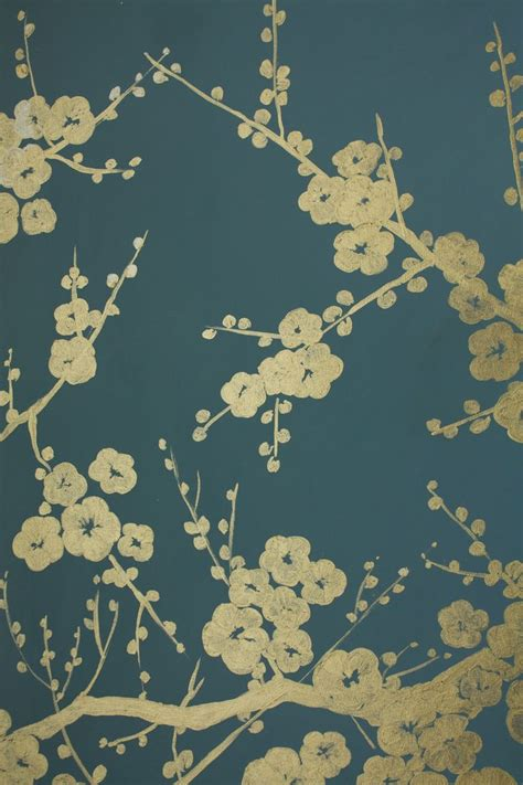 gold painted mural  chalky teal wall note
