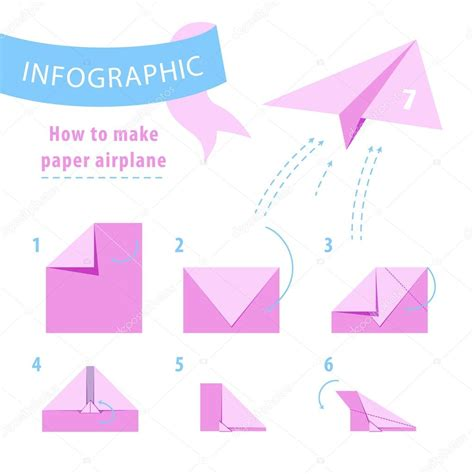 How To Make Paper Air - infographic to make paper airplane pink and