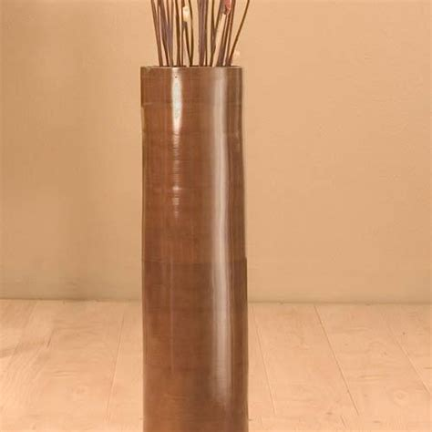Bamboo Floor Vases by Decorative Vases 25 Quot Brown Bamboo Cylinder Floor Vase