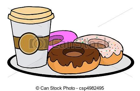 Clipart Vector of Coffee Cup With Donuts   Cup Of Coffee On A Plate With  csp4982495   Search