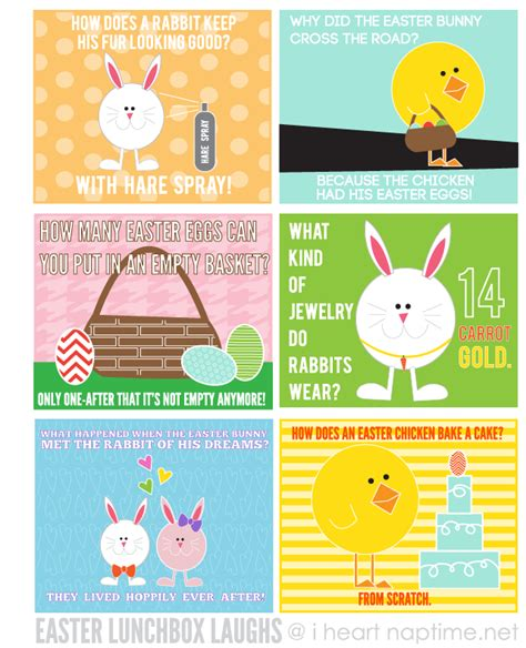 printable easter lunch box jokes easter lunchtime laughs free download i heart nap time