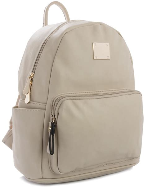 Longch Backpack Sz Large big handbag shop medium size plain faux leather designer backpack bag ebay