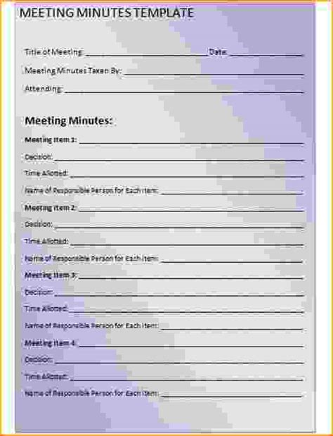4 Meeting Minutes Template Free Teknoswitch Printing Website Template Free