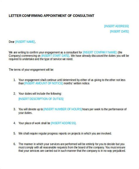 Business Letter For Consultancy Sle Business Appointment Letter 9 Exles In Word Pdf