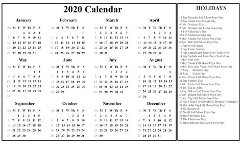 printable   sri lanka calendar   excel word