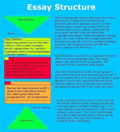 Structure Of Essay Writing by Essay Structure Charts