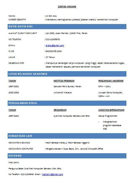 cara mudah membuat cv kreatif oh contoh mudah membuat resume kerja yang disukai majikan
