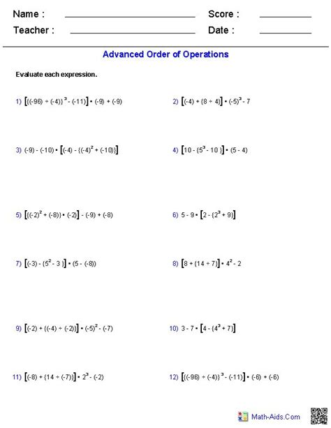 advanced order  operations problems math order