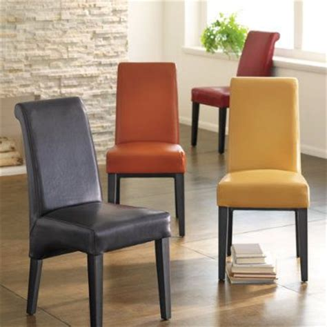 orange leather parsons chair dining room