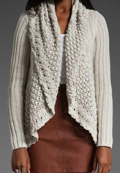 autumn cashmere drape cardigan autumn cashmere flower stitch drape cardigan in white