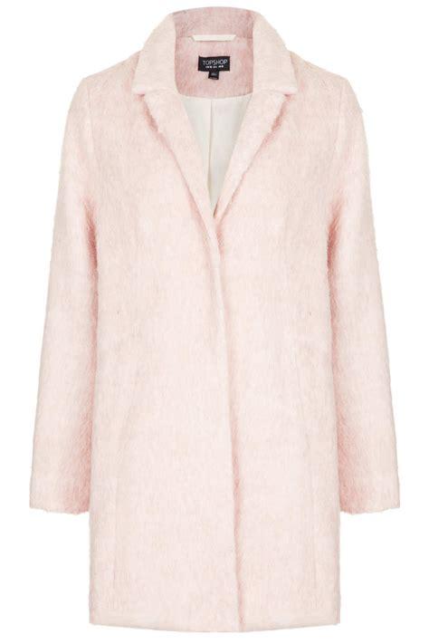 topshop swing coat topshop fluffy swing boyfriend coat in pink lyst