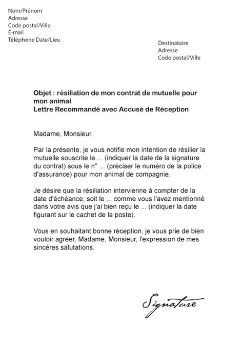Lettre De Resiliation Mobile Credit Mutuel Lettre De R 233 Siliation Mutuelle Animaux Mod 232 Le De Lettre