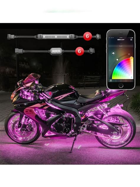led light strips for motorcycles xk glow 6 pod 6 strip app control motorcycle led accent