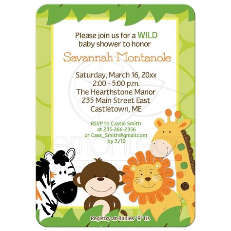 Safari Baby Shower by Bright Jungle Safari Animals Baby Shower Invitation