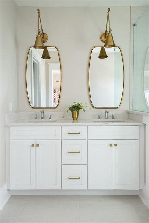 white bathroom vanity mirror french deco horn sconce contemporary bathroom angie