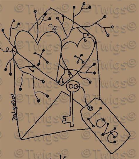 pattern for primitive heart free printable primitive stitchery patterns bing images