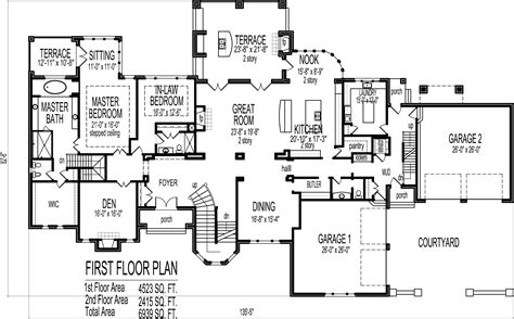 Mansion House Floor Plans Blueprints 6 Bedroom 2 Story Big House Plans