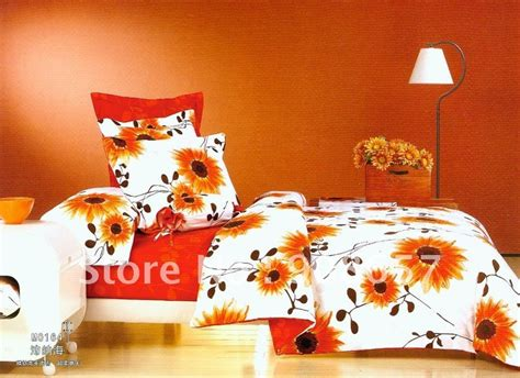 red and orange comforter sets brushed fabric 4pc queen bedding sets orange red sunflower