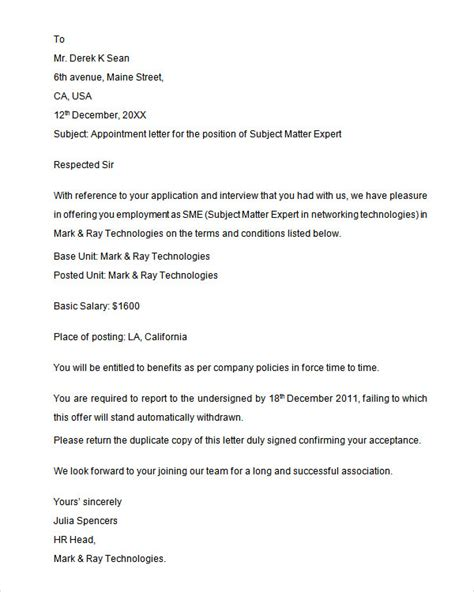 Sample Appointment Letter   28  Download Free Documents in