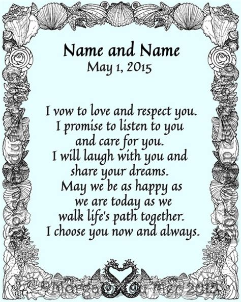 Wedding Vows Border by Custom Wedding Handfasting Anniversary Vows Certificates