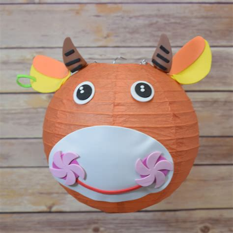 paper lanterns craft 8 quot paper lantern animal diy kit cow bull kid