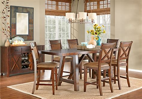 rooms to go kitchen furniture mango burnished walnut 5 pc counter height dining room