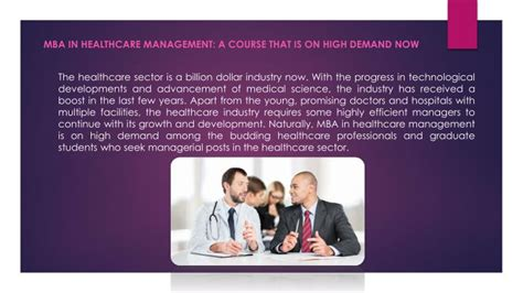 Demand For Mba In Healthcare Management by Ppt Mba In Healthcare Management For Career Powerpoint